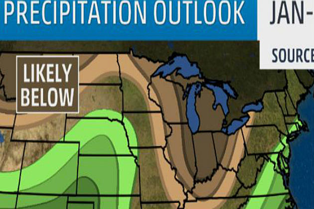 Precipiatation Outlook, Jan-March, Graphic from weather channel, weather.com