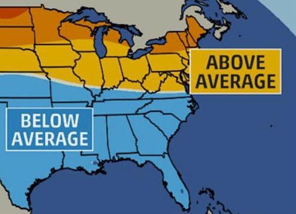Temperature Departure Forecast, Jan.-March Graphic from Weather Channel/Weather.com